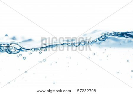 Water Surface With Single Wave And A Few Bubbles