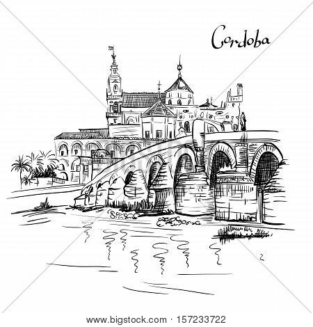 Vector Great Mosque Mezquita - Catedral de Cordoba and Roman bridge across Guadalquivir river, Cordoba, Andalusia, Spain