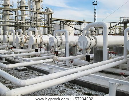 Heat Exchangers In Refineries. The Equipment For Oil Refining. Heat Exchanger For Flammable Liquids.