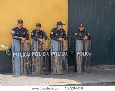 Police On The Streets Of Lima