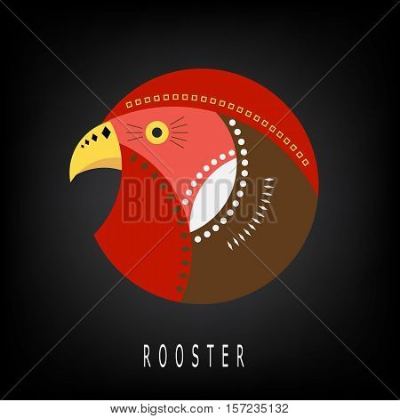 Round  geometric image of cock.  It can be used as a logo. Black background