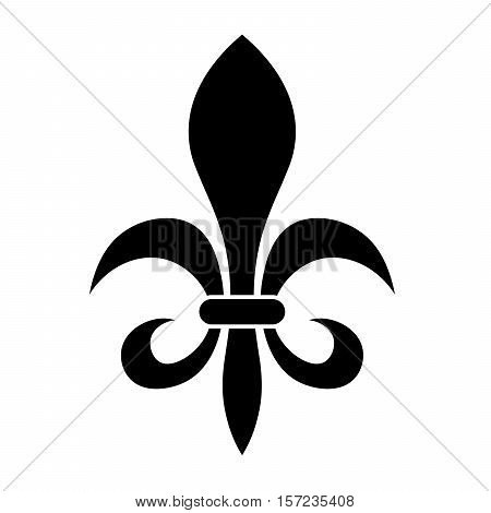 The fleur-de-lis or flower-de-luce sign of lily used as decorative design or symbol in heraldry. Simple elegant flat vector black illustration on white background.
