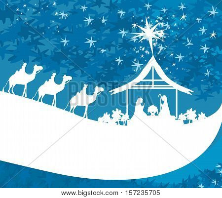 birth of Jesus in Bethlehem - abstract , vector illustration
