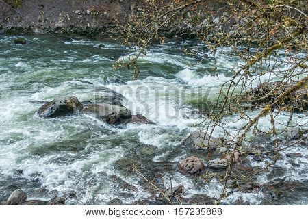 A veiw of whitewater rapids on the Snoqualmie River in Washington State.