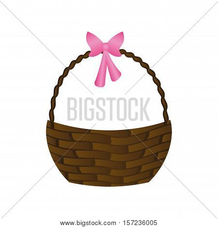 Happy easter basket icon vector illustration design