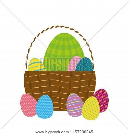 Happy easter eggs icon vector illustration design