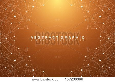 Graphic abstract background communication. Geometric scientific pattern with compounds. Minimal array lines and dots. Digital data visualization.Scientific vector illustration for your design