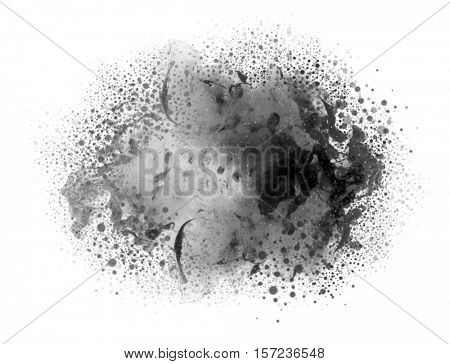 Acrylic colors in water with drops. Abstract background. Isolated on white.