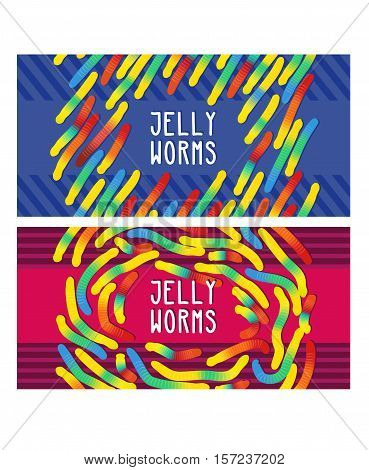 Candy gummy jelly worms, twist gelatin sweets of bright colors on stripes background. Design in childish colorful style. Vector illustration for cover