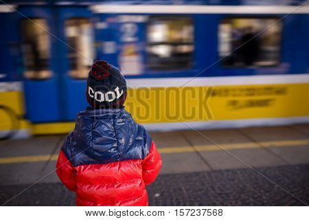 Little Child Boy Waiting For The Train