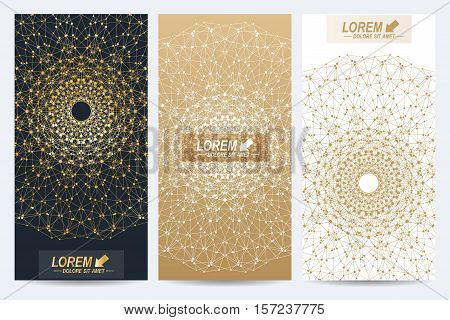 Modern set of vector flyers. Geometric abstract presentation with golden mandala. Molecule and communication background for medicine, science, technology, chemistry.Digital or science representation
