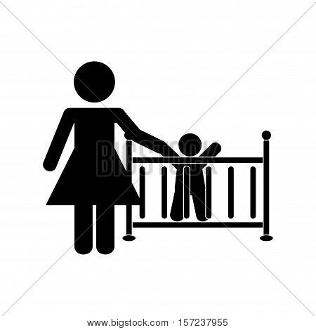 mother daugther kid pictogram icon vector illustration design