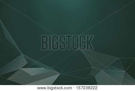 Abstract polygonal low poly green background with connecting lines