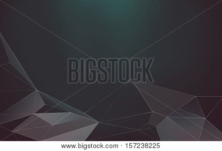Abstract polygonal low poly dark background with connecting lines