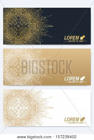 Modern set of vector banners. Geometric abstract presentation with golden mandala. Molecule and communication background for medicine, science, technology, chemistry.Digital or science representation
