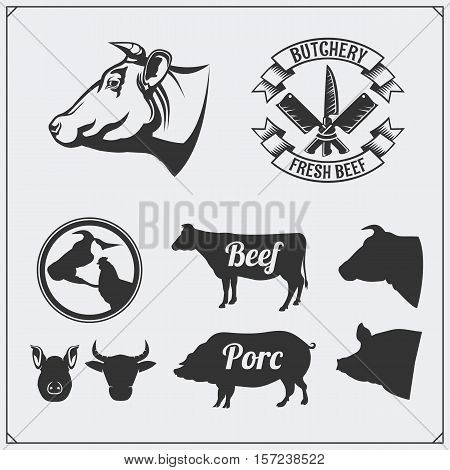 Butcher's business labels, meat labels and design elements. Silhouettes of farm animals.