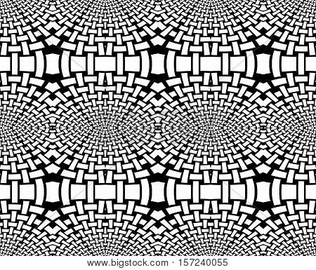Abstract geometric seamless background. Regular ellipses pattern black and white, coloring page.