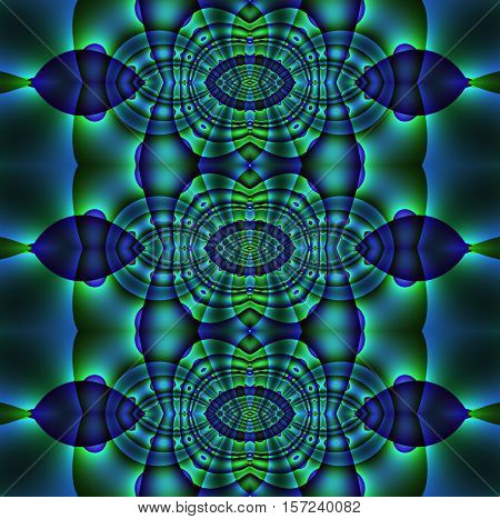 Abstract geometric seamless background. Regular ellipses ornaments in blue, green and purple shades, ornate and dreamy.