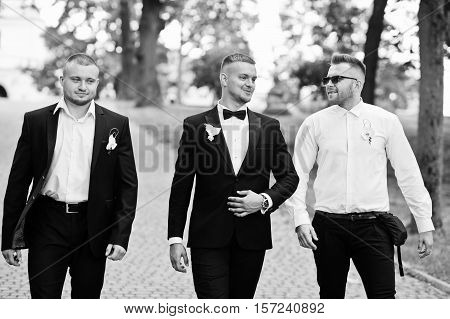 Personable Groom With Best Mans Or Groomsman Posed On Park At Wedding Day. Black And White Photo