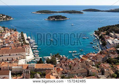 View of Hvar port in the summer, Croatia