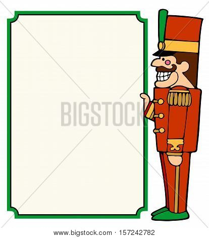 Nutcracker soldier holding a placard for christmas