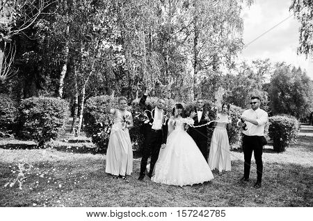 Stylish Wedding Couple, Groomsman And Bridesmaids With Champagne Explosion. Black And White Photo