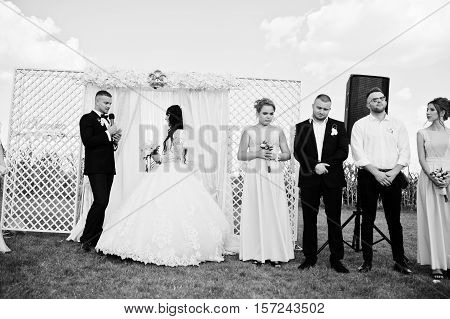 Amazing Wedding Ceremony With Master Of Ceremonies, Wedding Couple And Best Mans With Bridesmaids. B