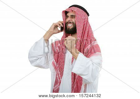 An arab person with a thumbs up isolated on white background.