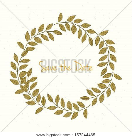 Hand drawn invitation card. Vector illustration of retro wreath on light background can be used for invitation, banner template, card, flyer, sale, website, menu, cover