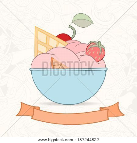 Hand drawn background of doodle style icecream. Vector illustration can be used for invitation, banner template, card, flyer, sale, website, menu of bakery or restaurant