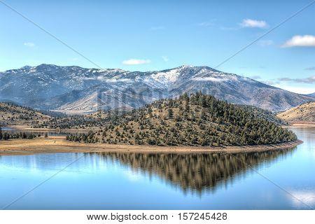 Lake Shastina valley reservoir near Mount Shasta in northern California