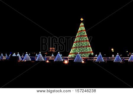 Illuminated Christmas tree lights at night with 50 small trees representing each state at National Mall in Washington D.C. in 2014