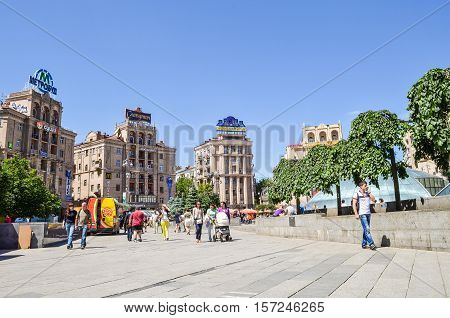 Kiev, Ukraine - May 25, 2013: Maidan Nezalezhnosti or Independence Square in downtown with people, before Euromaidan took place