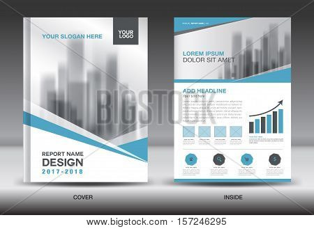 Blue Cover Annual report brochure flyer template creative design, cover design, cover and inside page layout infographics vector