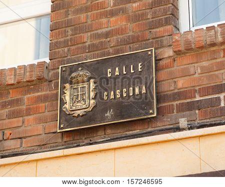 Street sign of Gascona Street in Oviedo Asturias Spain
