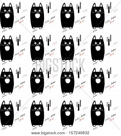 Cute little kittens isolated on white background, seamless pattern. Vector illustration. Cats pattern for pillow cases decoration design.