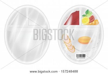 top view of White polystyrene packaging mockup with food inside