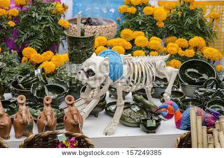 OAXACA, OAXACA, MEXICO - NOVEMBER 1, 2016: Part of a mexican day of the dead offering altar with flowers and a dog skeleton in Oaxaca, Mexico
