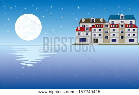 The Moon night and city ashore ocean.Vector illustration