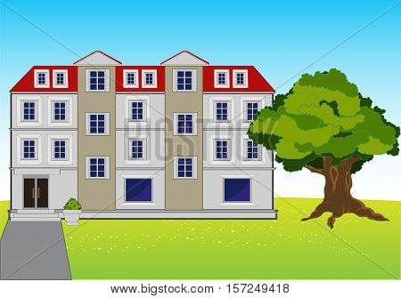 The Modern big mansion on year meadow.Vector illustration
