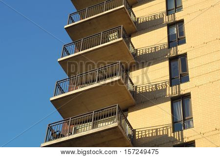 apartments building residential condo balconies structure urban facade