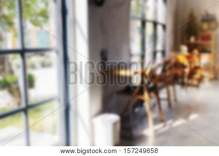 Interior blur of street coffee shop stock photo