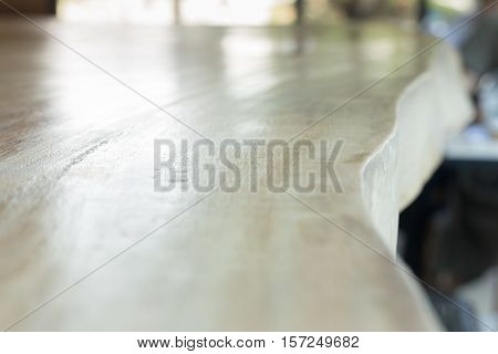 Wooden table top in dining room stock photo
