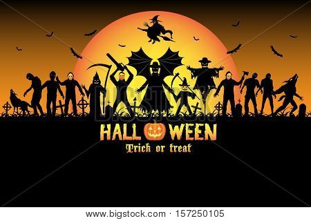 halloween monster zombie serial killer set vector