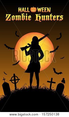 a halloween zombie hunter with shotgun at graveyard