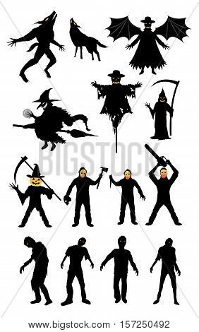 a halloween monster zombie serial killer set