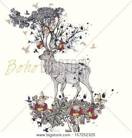 Art boho illustration with hand drawn deer flowers in it horns butterflies and branches. Ideal for T-shirt prints