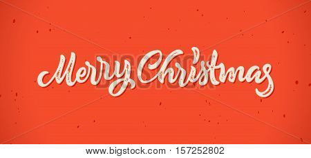 Merry Christmas calligraphic hand drawn lettering card with vintage letterpress print style for winter xmas holidays