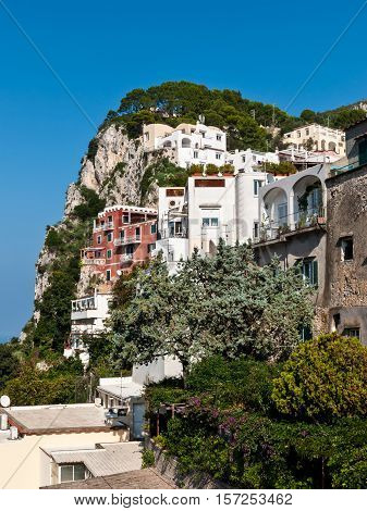 Photo of Capri buildings on the rock island Capri South of Italy