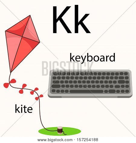 Illustrator of k vocabulary with keyboard and kite